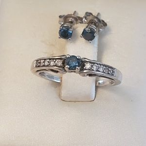 Blue Diamond Matching Set - Earrings & Ring